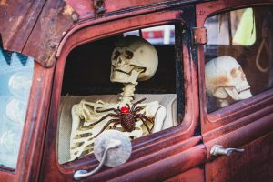 skeleton sitting in car with fake spider on chest